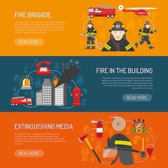 Плоский дизайн баннеров для пожарных.