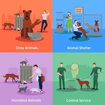 Набор символов для бродячих собак и чатов ведет за пределами своих привычек приют и контролирует службу векторные иллюстрации