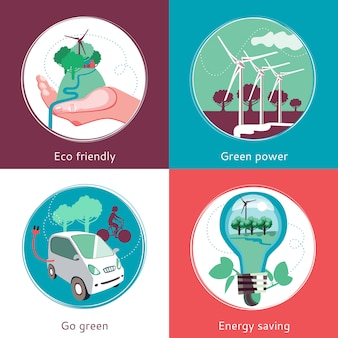 エコロジーコンセプトフラット背景セット