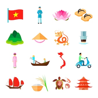Набор иконок вьетнам. вьетнам путешествия векторные иллюстрации. вьетнам туризм плоские символы. вьетнамский дизайнерский набор. вьетнам изолированный набор.