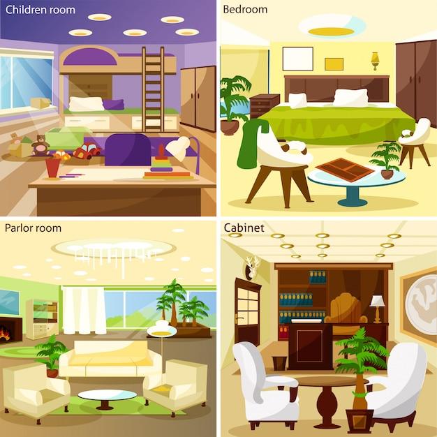 リビングルームのインテリアデザインコンセプトの背景