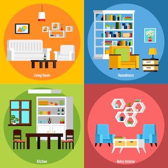 Фоновые композиции интерьера комнаты