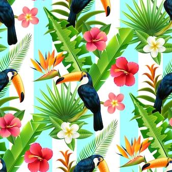 Тропический лес тукан плоский бесшовный фон