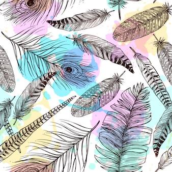 手描きの羽のシームレスパターン