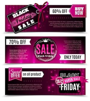 Черная пятница продажа горизонтальные баннеры