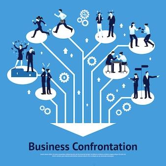 Бизнес-конфронтация плоский графический дизайн