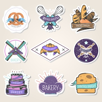 Пекарня набор наклеек с мучными изделиями, кулинарные инструменты, ветряная мельница, элементы дизайна, винтажный стиль, изолированных векторная иллюстрация