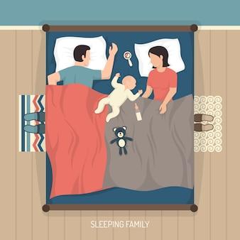 看護の赤ちゃんと一緒に眠っている家族