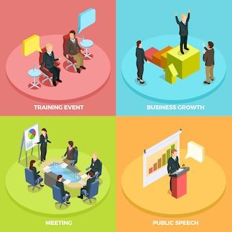 Изучение бизнеса изометрические концепция