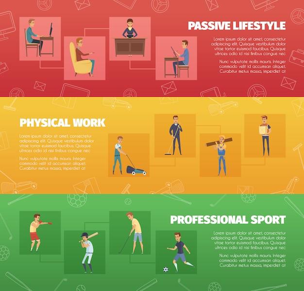 Три горизонтальных баннера с физической работой