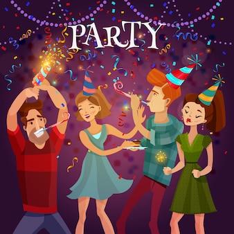 誕生日パーティーのお祝いお祭りの背景ポスター