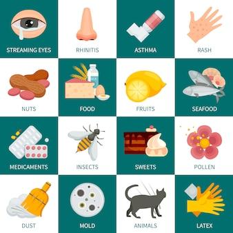 アレルギーの背景アレルギーのベクトル図アレルギーフラット記号。アレルギーデザインセット。アレルギー分離セット。