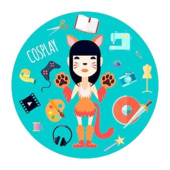 自作の猫のコスチュームとファッションアクセサリーのコスプレイヤーキャラクターの女の子