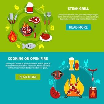 ステーキグリルと暖炉の上で調理フラット