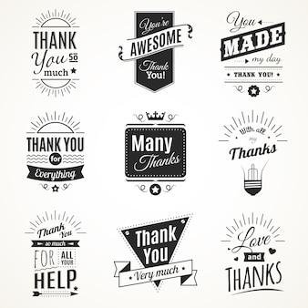 Монохромная коллекция из девяти винтажных знаков благодарности с элементами солнечного света в стиле ретро шрифта, изолированных векторная иллюстрация