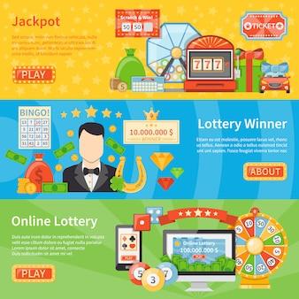 Горизонтальные баннеры лотереи и джекпота