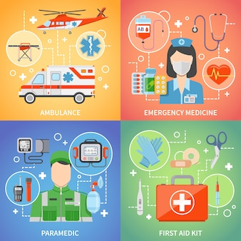 救急救命士の要素と文字のデザインコンセプト