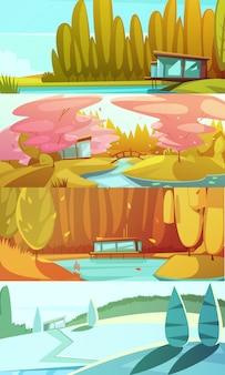 Сельские пейзажи сезонов горизонтальные фоны, установленные с зимой лето осень и весна ретро изолированных векторная иллюстрация