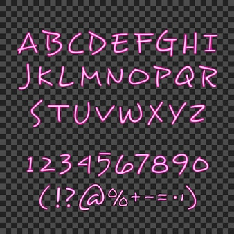 ピンクのネオンの手で書道レタリングスタイルポスター手描きアルファベット暗号と透明な背景ベクトルイラスト