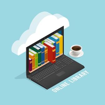 Интернет-библиотека изометрический дизайн