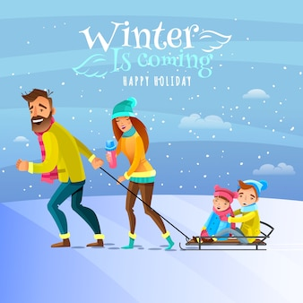 冬の季節の図の家族
