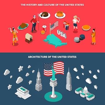 アメリカの観光名所等尺性バナー