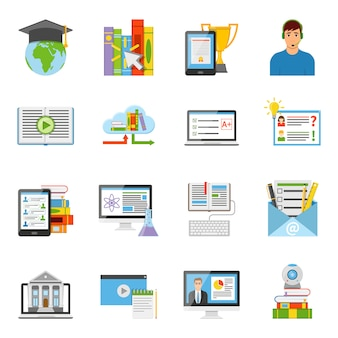 Набор плоских иконок онлайн образования