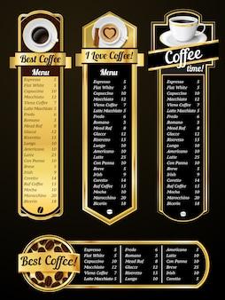 Шаблоны меню кофе