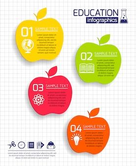 教育リンゴインフォグラフィックテンプレート