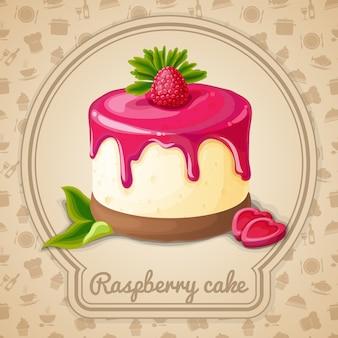 Малиновый торт иллюстрация