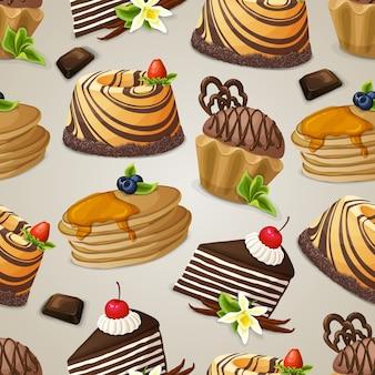 お菓子デザートのシームレスパターン