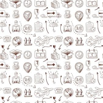 物流のシームレスパターン、落書きスタイル