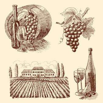 ワインスケッチ装飾セット
