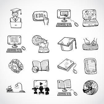 オンライン教育のアイコンスケッチ、落書き手描きスタイル