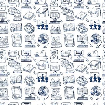オンライン教育のシームレスパターン、落書きスタイル