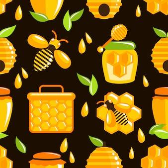 蜂蜜のシームレスパターン