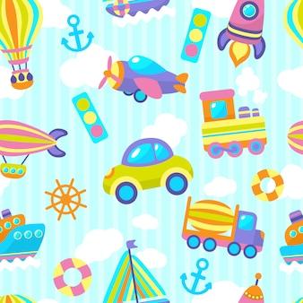 輸送おもちゃのシームレスパターン