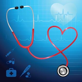 医療保健サービスの聴診器と心のシンボルベクトル図