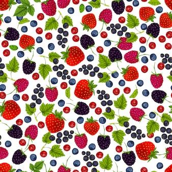 Бесшовный узор из свежих ягод