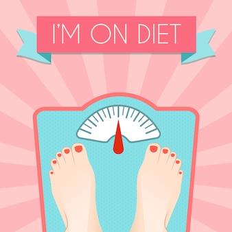 レトロなスケールの食事療法の概念と健康的な減量管理