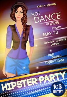 Ночной клуб хипстер вечеринка шаблон плаката