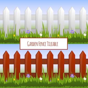 庭のフェンスのシームレスなパターン、漫画イラスト