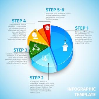 Круговая диаграмма встречи инфографики шаблон
