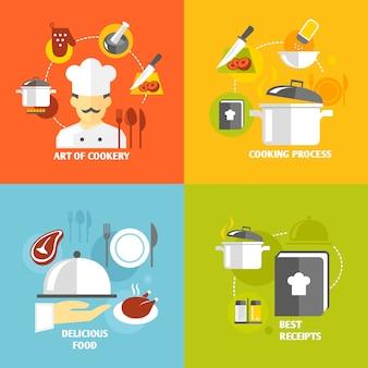 Кулинарные элементы плоские