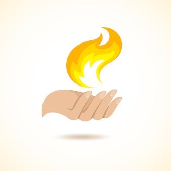手が火のイラストを保持します。
