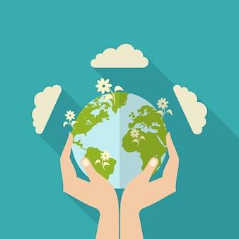 Человеческие руки держат глобус