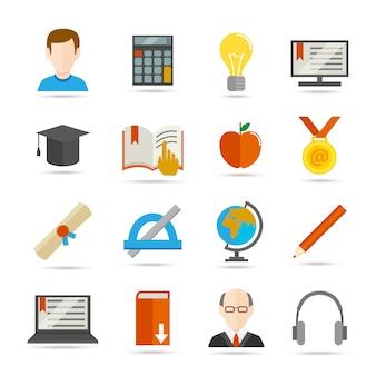 Электронное обучение плоский значок