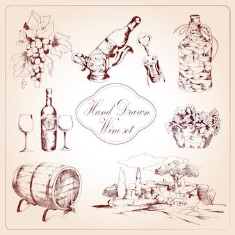 ワインの装飾的な要素セット