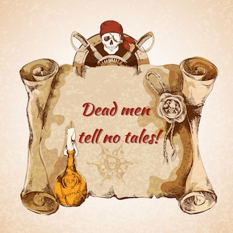 ビンテージ海賊羊皮紙