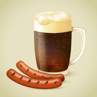 Иллюстрация темного пива и жареной колбасы
